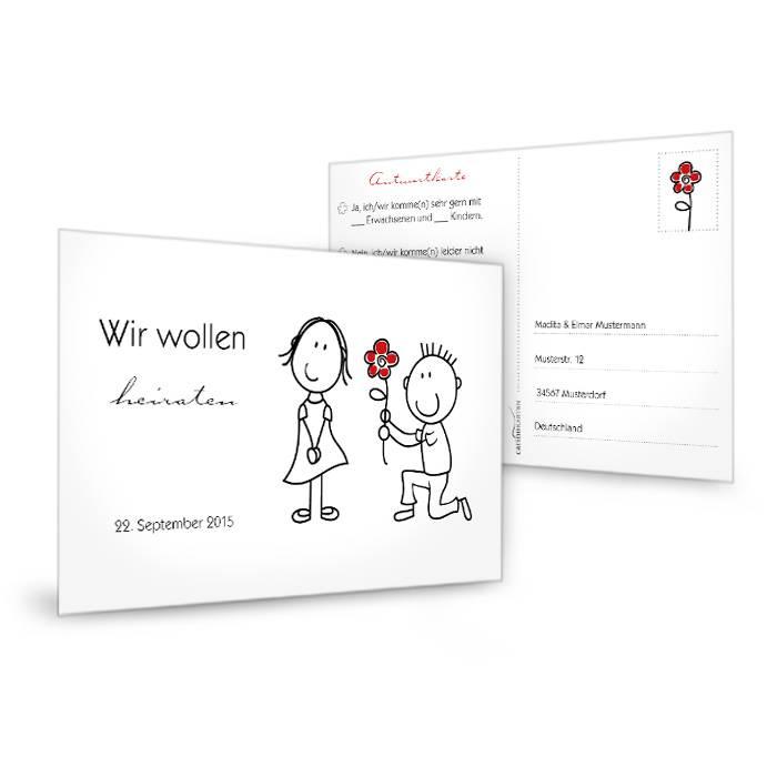 Antwortkarte zur Hochzeitseinladung mit Karikatur Brautpaar