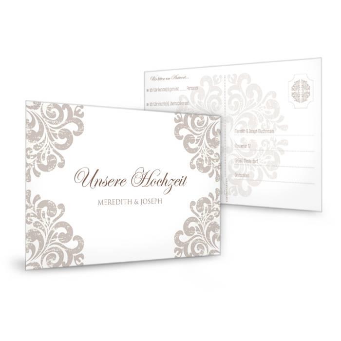 Edle Antwortkarte zur Hochzeit mit barockem Muster in Taupe