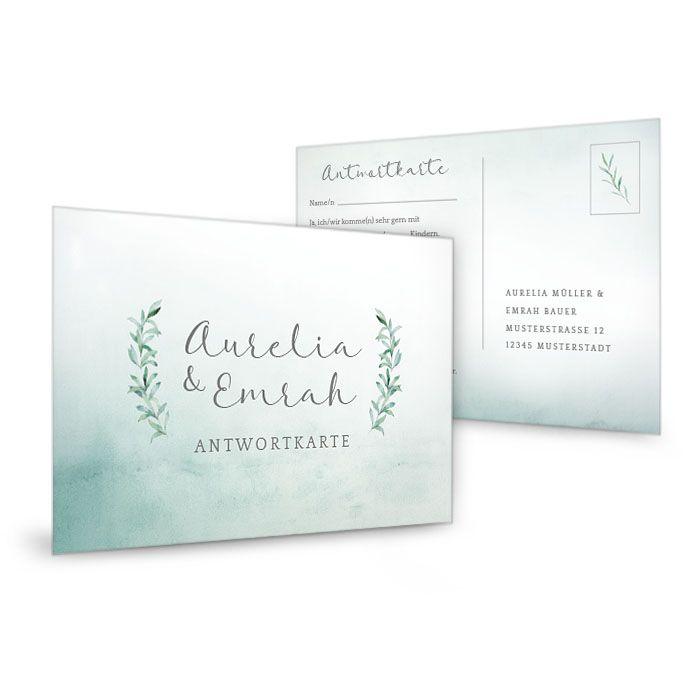Antwortkarte zur Hochzeit im Greenery Stil mit Watercolor Zweigen