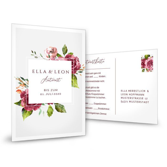 Antwortkarte zur Hochzeit mit Aquarell Blumen und modernem Rahmen