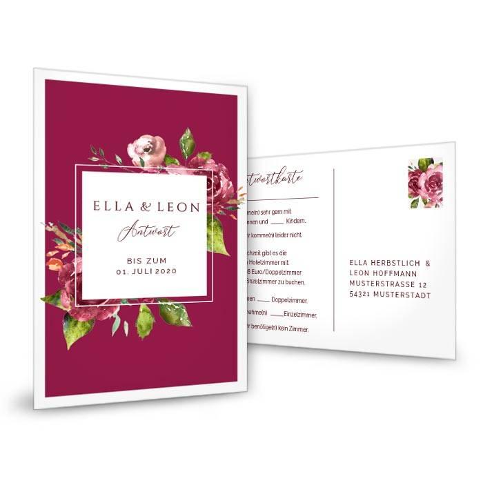 Antwortkarte zur Hochzeit mit Aquarell Blumen und Rahmen in Bordeaux
