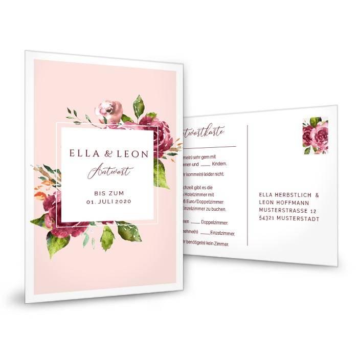 Antwortkarte zur Hochzeit mit Aquarell Blumen und Rahmen in Rosa