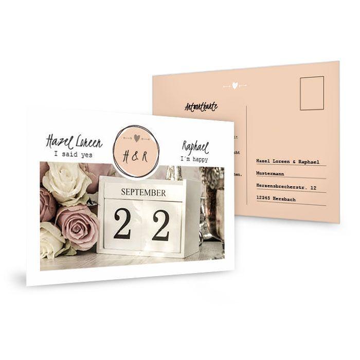 Antwortkarte zur Hochzeitseinladung im Vintage Design