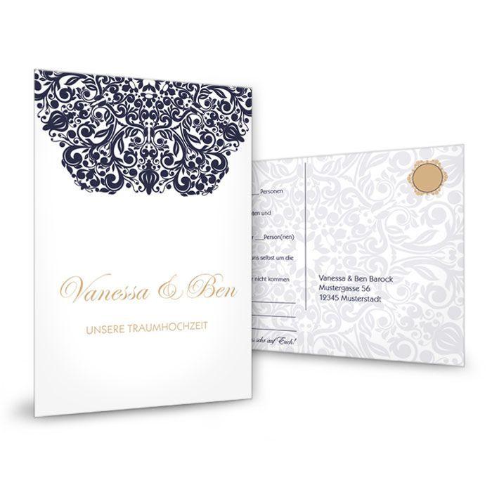 Antwortkarte zur Hochzeit im barocken Design in Weiß und Blau