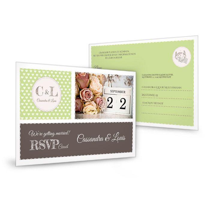 Antwortkarte zur retro Hochzeitseinladung in Grün mit Herzen