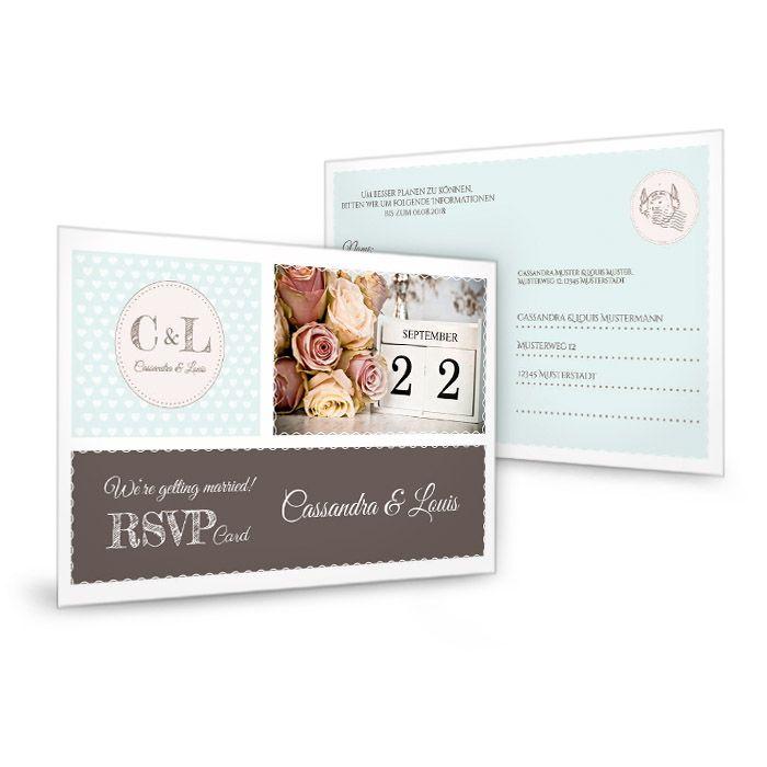 Antwortkarte zur retro Hochzeitseinladung in Mint mit Herzen