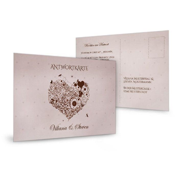 Antwortkarte zur Hochzeitseinladung mit floralem Herz