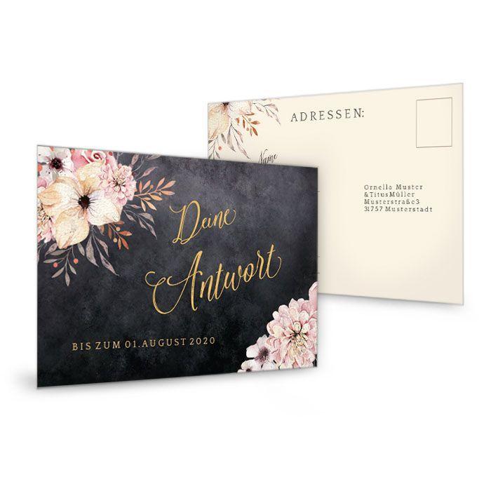 Edle Antwortkarte zur Hochzeit in Schieferoptik mit Blumen