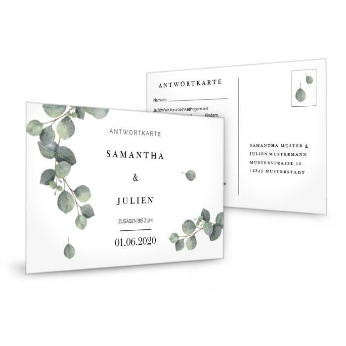 Antwortkarte zur Hochzeitseinladung mit Eukalyptuszweig