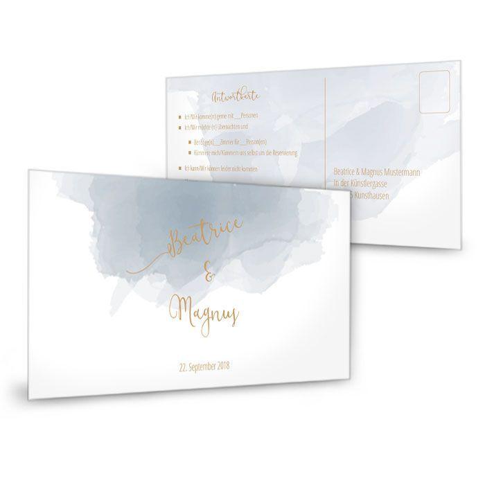 Moderne Antwortkarte zur Hochzeit mit blauem Aquarelldesign