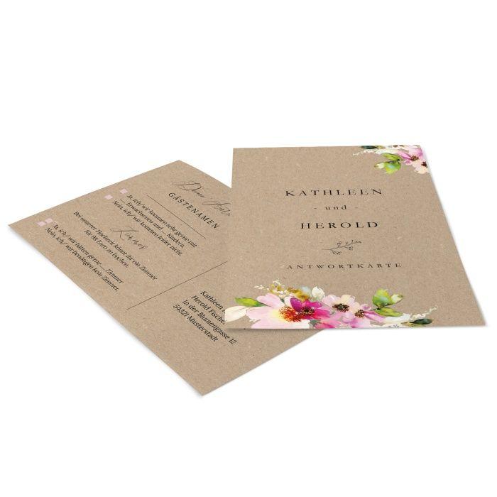Antwortkarte mit bunten Aquarellblumen auf Kraftpapierdesign