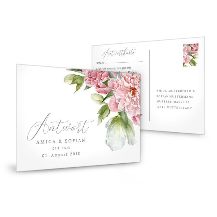 Antwortkarte zur Hochzeitseinladung in Weiß mit Pfingstrosen
