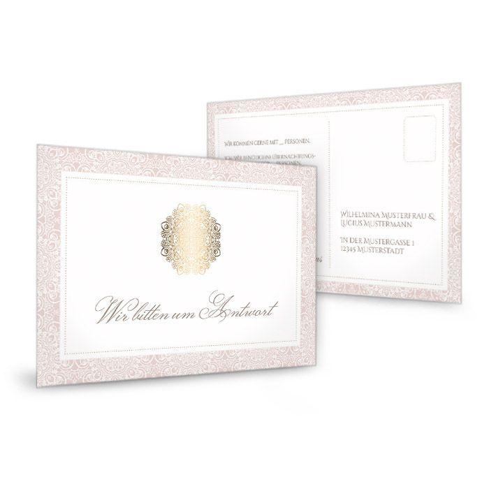 Antwortkarte zur Hochzeit in Rosé mit goldenem Ornament