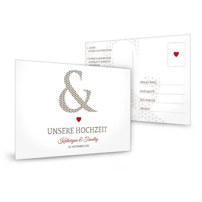 Schlichte Antwortkarte mit rotem Herz Katheryna und Timothy