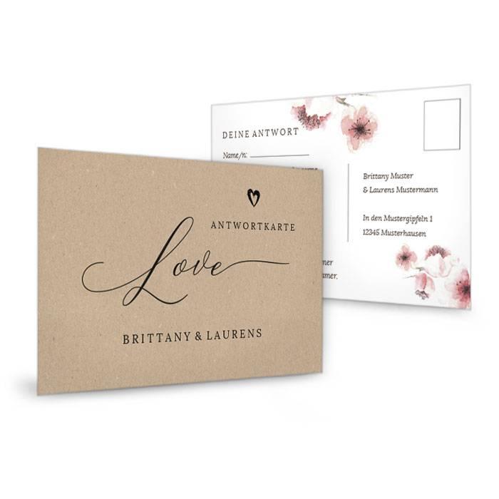 Antwortkarte zur Hochzeitseinladung mit Kirschblüten
