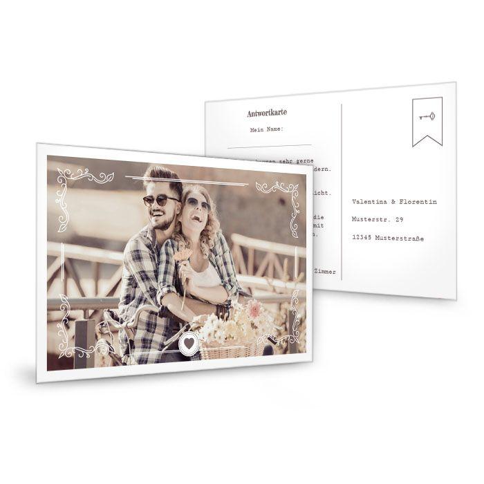 Antwortkarte zur Hochzeit mit großem Foto und Schlüssel