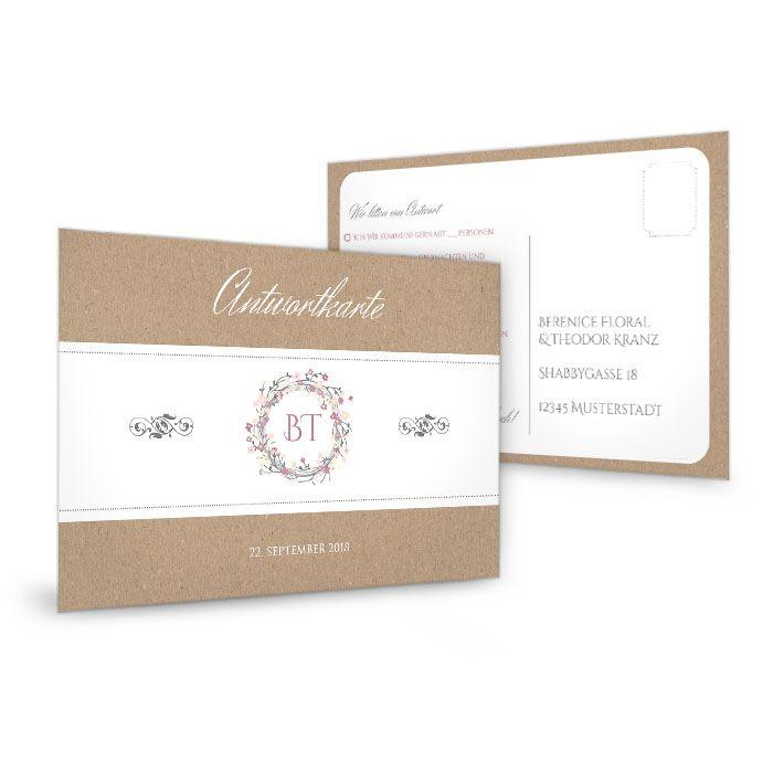 Antwortkarte zur Hochzeit im Kraftpapierstil mit Blütenkranz