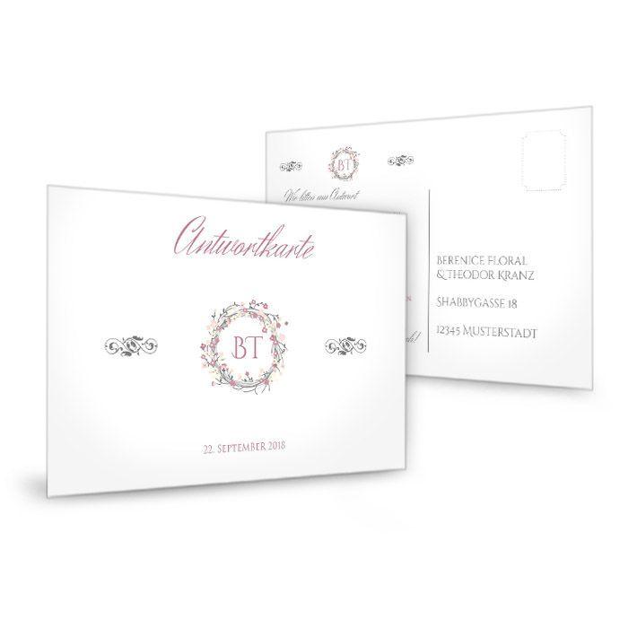 Antwortkarte zur Hochzeit mit vintage Blumenkranz in Rosa
