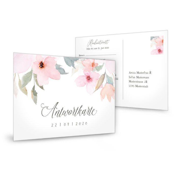 Romantische Vintage Antwortkarte Karte mit Blüten in Rosa