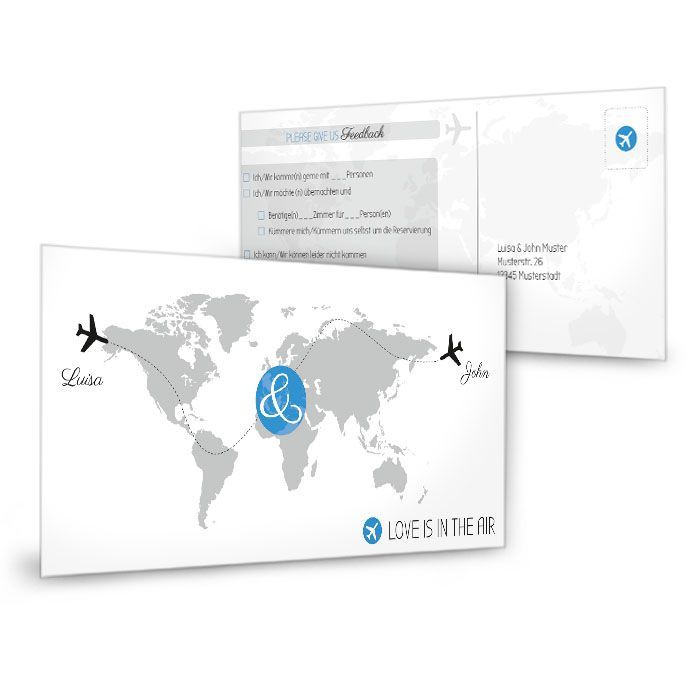 Antwortkarte zur Einladung mit Weltkarte und Flugzeugen in Blau