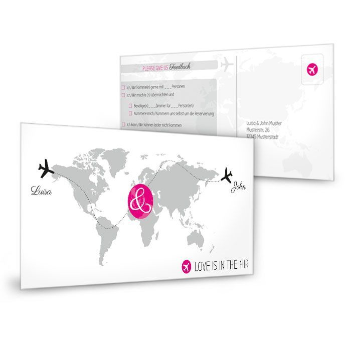 Antwortkarte zur Einladung mit Weltkarte und Flugzeugen in Pink