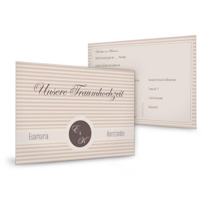 Antwortkarte zur Hochzeitseinladung mit braunen Streifen