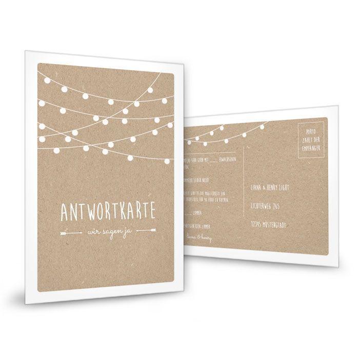 Antwortkarte zur Hochzeit in Kraftpapieroptik mit Lichterkette