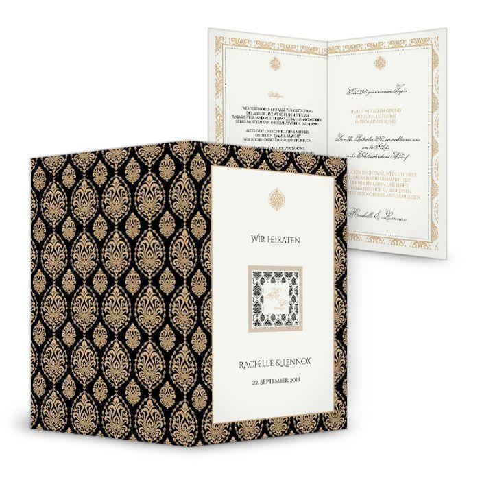 Elegante Art Deco Hochzeitseinladung in Schwarz und Gold