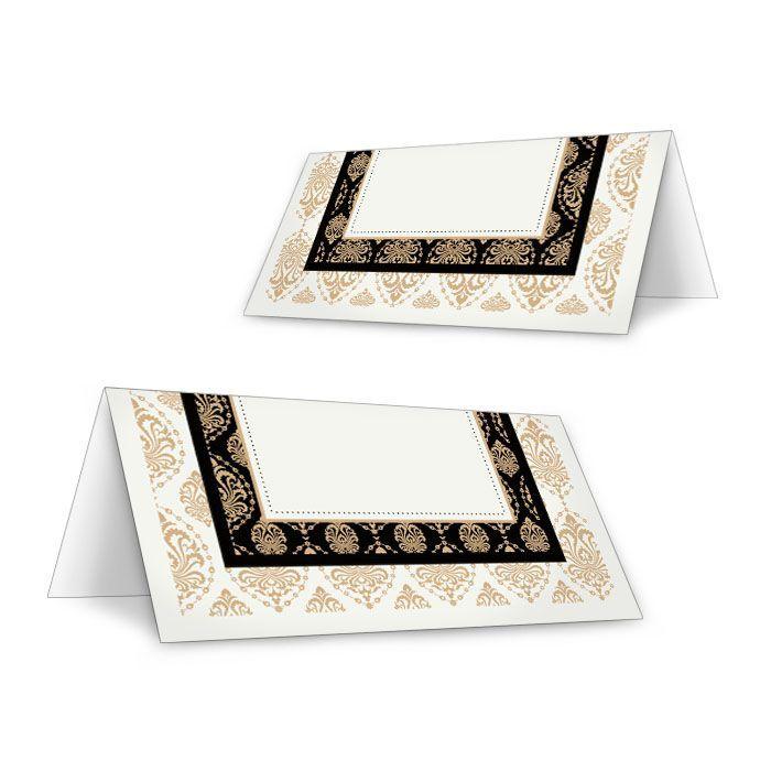 Art Deco Tischkarten zur Hochzeit mit goldenen Ornamenten