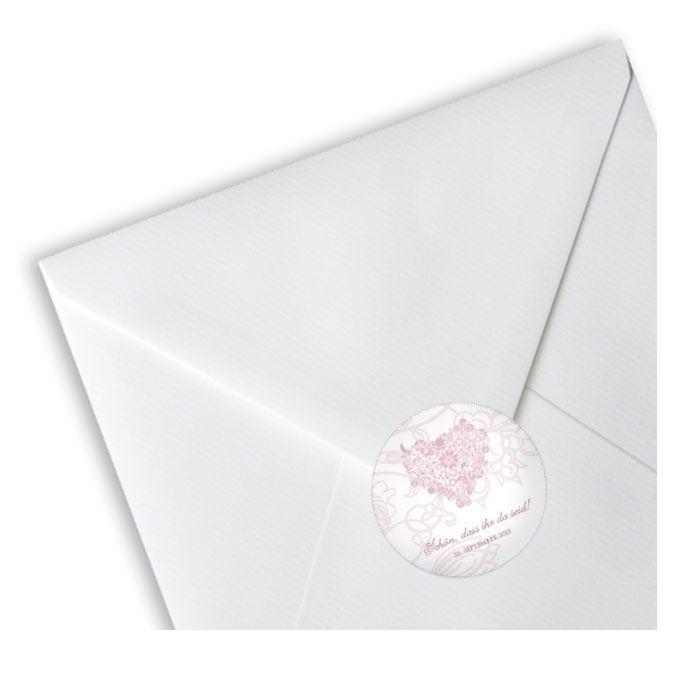 Runde Hochzeitsaufkleber in Weiß und Rosa mit floralem Herz