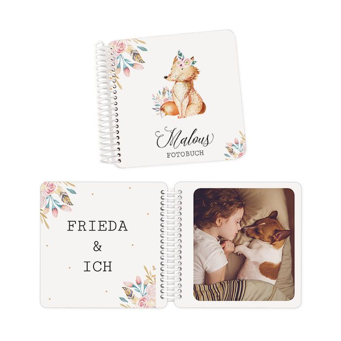Babyfotobuch mit niedlichen Waldtieren und extra dicken Seiten