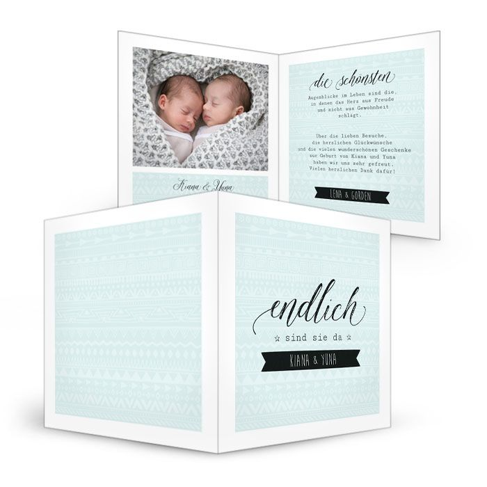 Babykarte zur Geburt von Zwillingen in modernem Blau