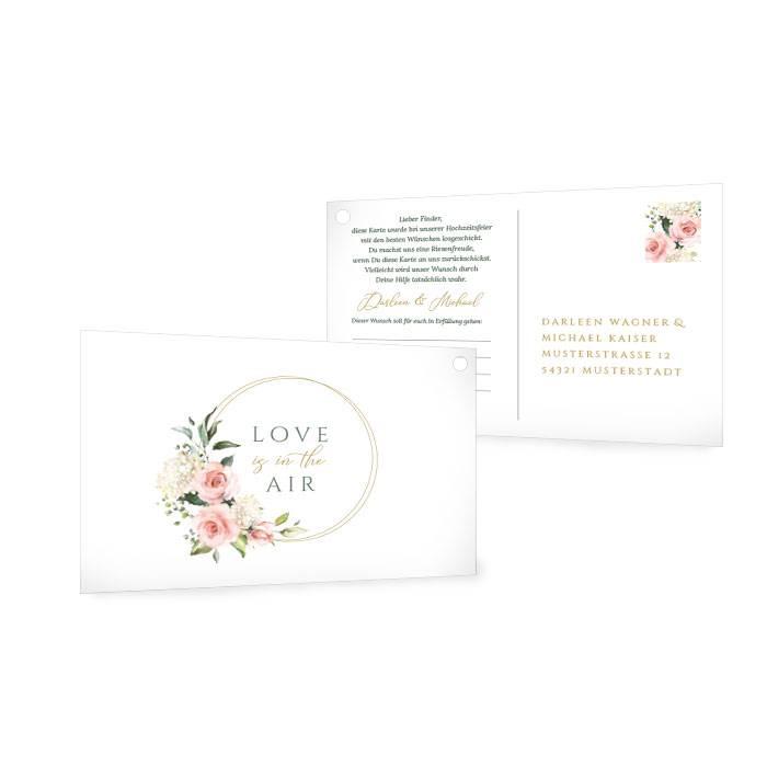Ballonkarte zur Hochzeit mit Goldreif und Aquarell Blumen