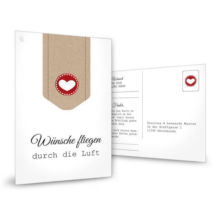 Ballonkarten zur Hochzeit Mit Herz und Kraftpapier-Design