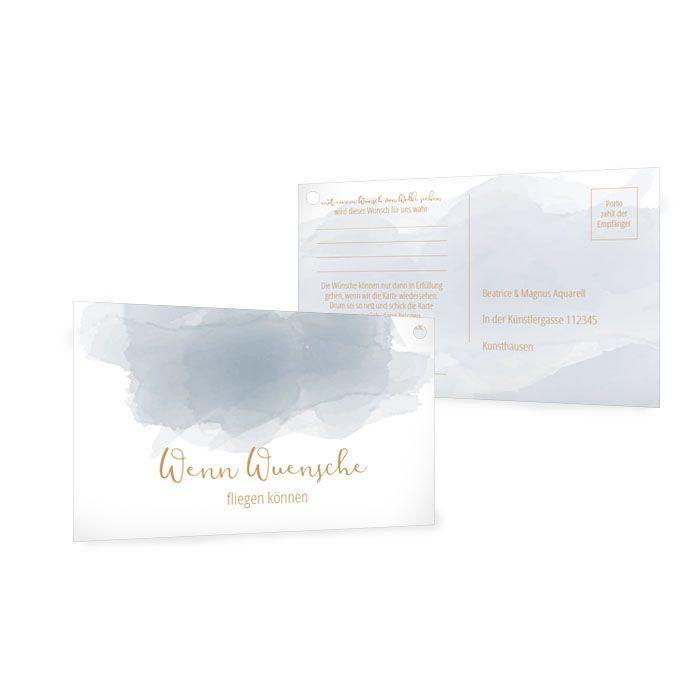 Moderne Ballonkarte zur Hochzeit mit blauem Aquarelldesign
