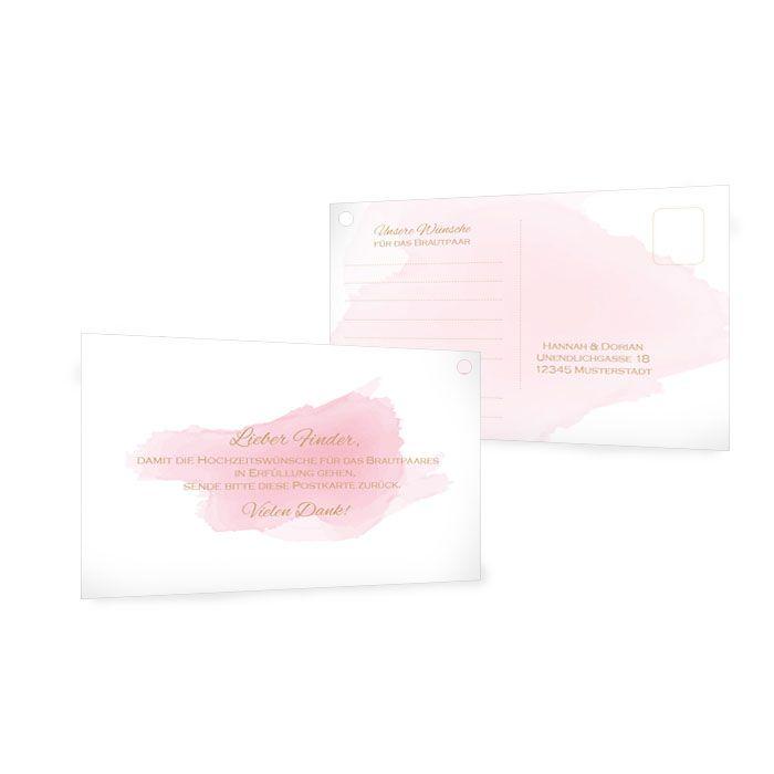 Moderne Ballonkarten zur Hochzeit mit rosa Aquarelldesign