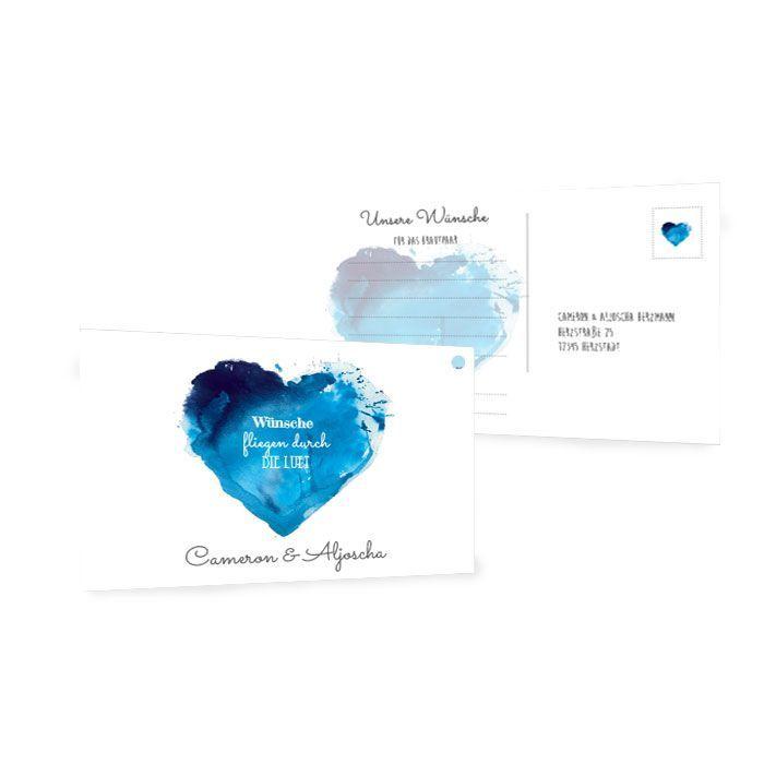 Ballonkarte zur Hochzeit mit Aquarellherz in Blau
