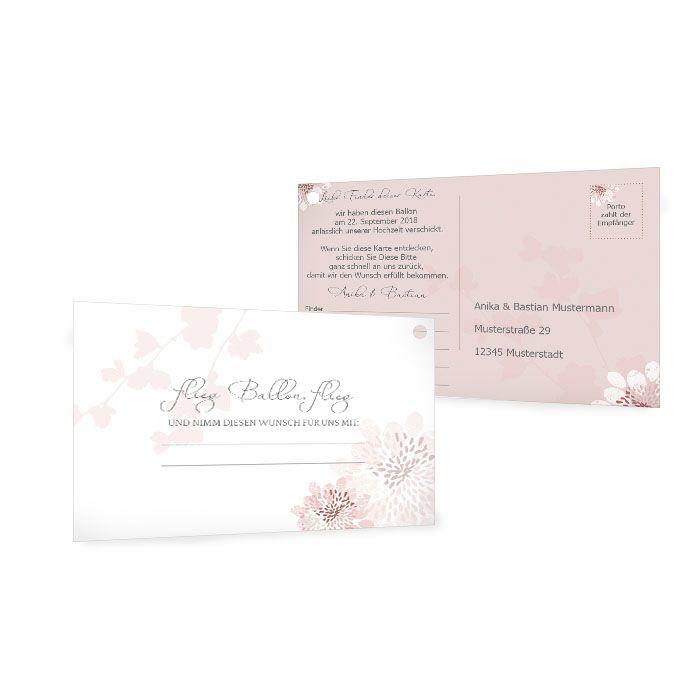 Ballonkarten zur Hochzeit mit floralem Muster in Rosa