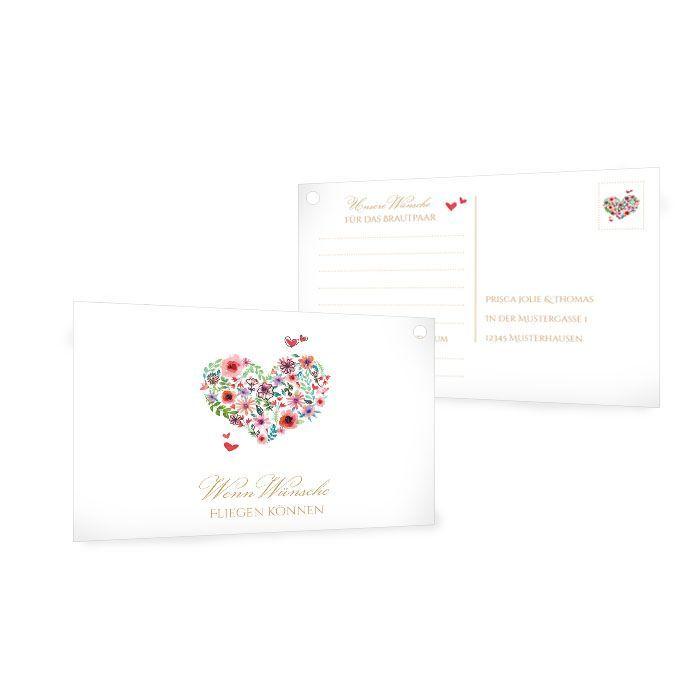 Romantische Ballonkarten zur Hochzeit mit Herz aus Blumen