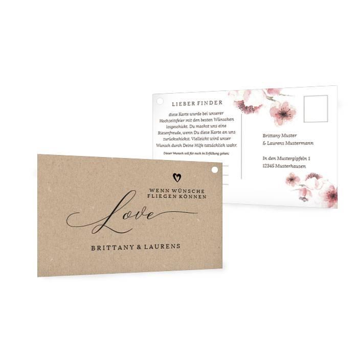 Ballonkarte mit Kirschblüten und Kraftpapieroptik