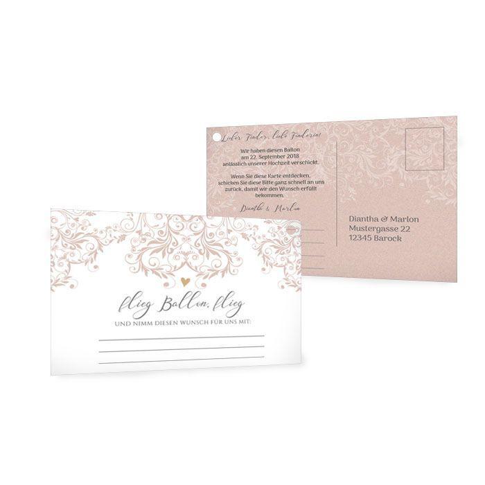 Ballonkarte zur Hochzeit mit romantischen Ornamenten in Rosa