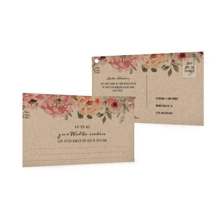Ballonkarten zur Hochzeit mit Kraftpapieroptik und Blüten