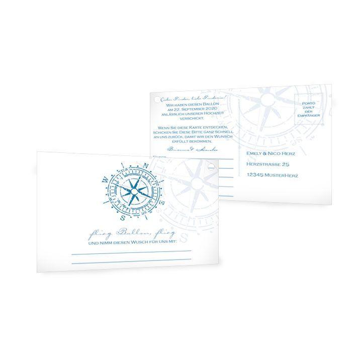 Ballonkarten zur maritimen Hochzeit mit Kompass in Blau