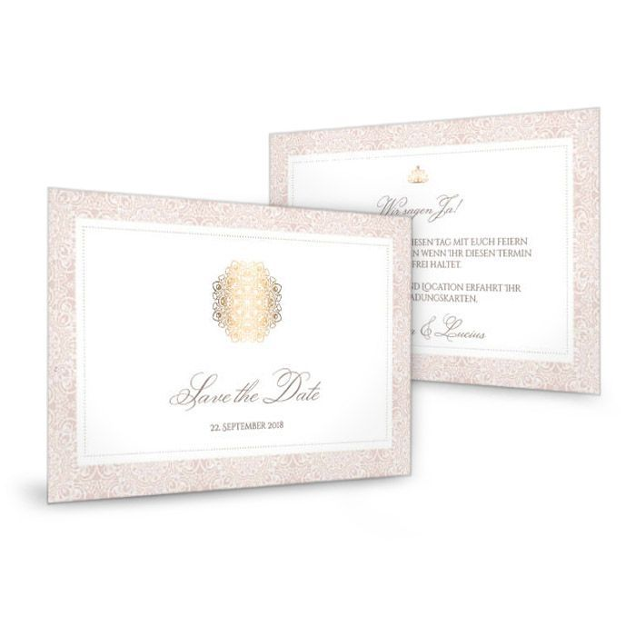 Save the Date Karte in Rosé mit goldenen Ornamenten