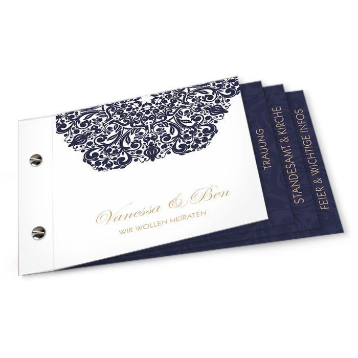 Barocke Einladung zur Hochzeit als Booklet in Blau