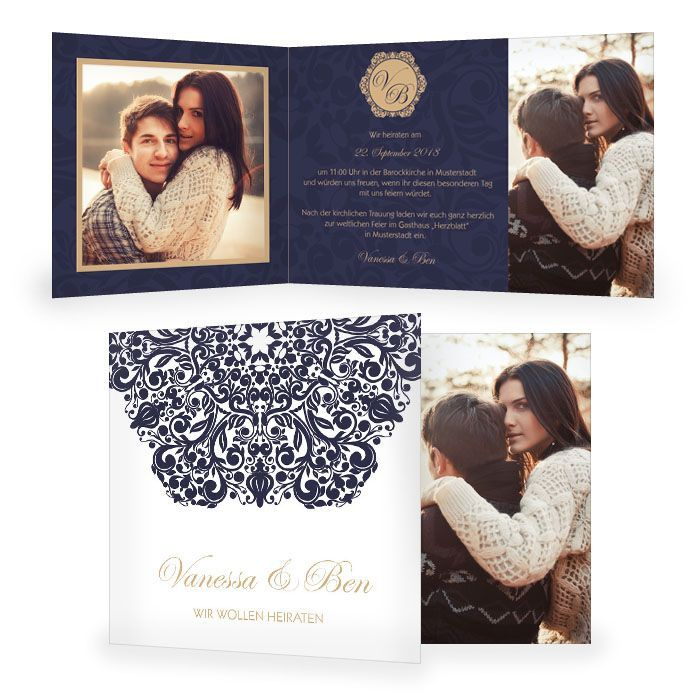 Hochzeitseinladung mit barockem Ornament als Klappkarte