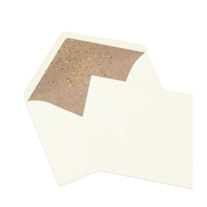 Bedrucktes Briefumschlagsinnenfutter in Kraftpapieroptik mit Goldglitter und Herzen - Ivory