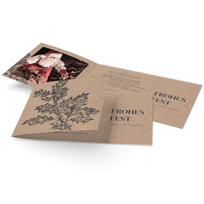 Besondere Weihnachtsgrußkarte Kraftpapieroptik mit Mistelzweig und goldfarbenen Sternen