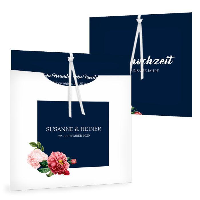 Besondere Einladung zur Silberhochzeit in dunkelblau mit Rosen