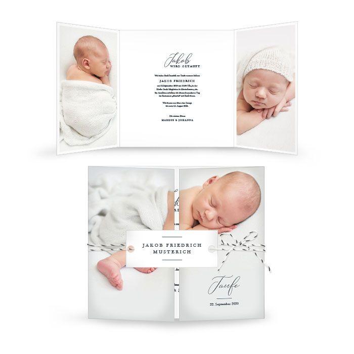 Taufkarte mit großem Foto und dekorativer Schrift